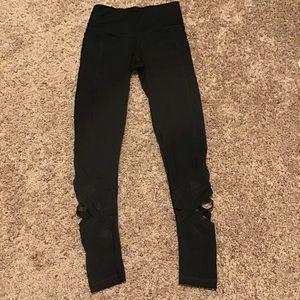 Victoria Secret Sport Black Mesh Cross Leggings